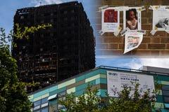 Tour de Grenfell après le feu, avec l'académie de Kensington Aldridge et Photos libres de droits