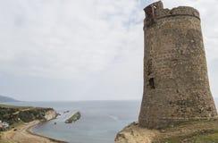 Tour de guet de Guadalmesi, parc naturel de détroit, Cadix, Espagne Image stock