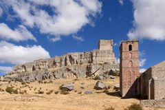 Tour de Homenaje de château Atienza, forteresse médiévale du twel Photos libres de droits