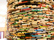 Tour de livres dans la bibliothèque municipale Photographie stock libre de droits