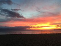 Tour de maître nageur au coucher du soleil Image stock