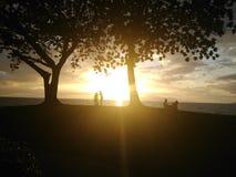 Tour de maître nageur au coucher du soleil Photo stock