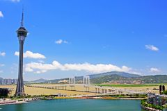 Tour de Macao et ciel bleu, Macao, Chine Photos libres de droits