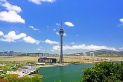 Tour de Macao et paysage urbain, Macao, Chine Photographie stock libre de droits