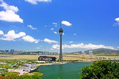 Tour de Macao et paysage urbain, Macao, Chine Photo stock