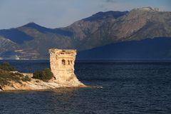 Tour de Martello, St Florent, Corse Photographie stock libre de droits