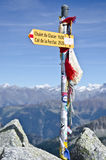 Tour de Mont Blanc trail signs. Yellow hiking signs on the mountains of the Mont Blanc hiking trail in Switzerland Stock Photography