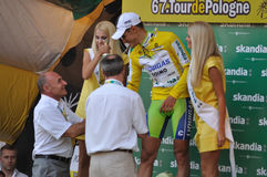Tour de Pologne. Jacopo Guarnieri winner of the stage 1 cycling race receives congratulations from Czeslaw Lang - Director of the 67.Tour de Pologne. Photo taken Stock Images