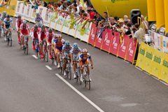 Tour de Pologne Peleton head. Peleton head in Tour de Pologne on Warsaw streets Royalty Free Stock Image