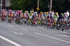 Tour de Pologne 2015 road bicycle race, Warsaw. Tour de Pologne (Tour of Poland) - first stage of the race in Warsaw on 2nd August 2015. Picture of a peleton Stock Image