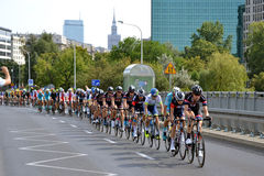 Tour de Pologne 2015 road bicycle race, Warsaw. Tour de Pologne (Tour of Poland) - first stage of the race in Warsaw on 2nd August 2015. Picture of a peleton Royalty Free Stock Photos