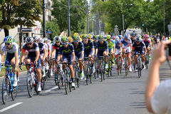 Tour de Pologne 2015 road bicycle race, Warsaw. Tour de Pologne (Tour of Poland) - first stage of the race in Warsaw on 2nd August 2015. Picture of a peleton Royalty Free Stock Image