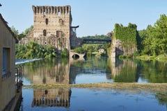 Tour de pont de Visconteo Photographie stock