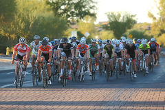 2012 Tour de Scottsdale cycling race. SCOTTSDALE, AZ - OCTOBER 14: Cyclists compete in the 9th annual Tour de Scottsdale, a 70-mile charity bicycle race Stock Photography