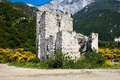 Tour de serf de sentinelle sur la côte, Athos Photographie stock libre de droits