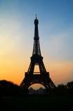 tour de silhouette d'Eiffel Image stock