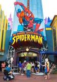 Tour de Spiderman aux îles de studios universels de l'aventure Image libre de droits
