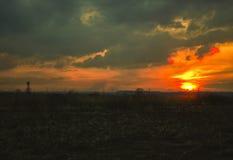 Tour de surveillance de chasseur au coucher du soleil Photos stock