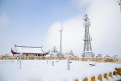 Tour de télécommunication et station météorologique Photos libres de droits