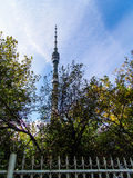 Tour de télévision d'Ostankino - derrière les arbres et la barrière Image libre de droits