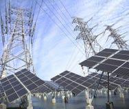 Tour de transport d'énergie et panneau solaire en vert Photo stock