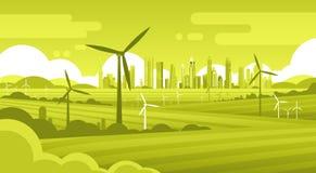 Tour de turbine de vent en technologie alternative de source d'énergie d'écologie de fond de ville de vert de champ illustration stock