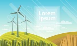 Tour de turbine de vent en technologie alternative de source d'énergie de ciel bleu de champ illustration de vecteur