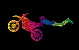 Tour de vol de motocross de style libre Image stock