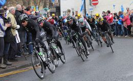 Tour de Yorkshire 2016. Action on bend in Tour de Yorkshire at Stokesley Stock Photography