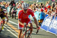 Tour de Yorkshire 2018. Cofidis rider climbing the last 250m of the Cote de Cote de Cow and Calf after the summit finish of stage 2 of the 2028 Tour de Yorkshire Stock Photo