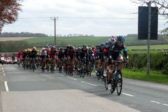 Tour De Yorkshire 2015. Cycle teams taking part in the Tour De Yorkshire bicycle race in April 2015. The cyclists are just approaching Wetwang, near Bridlington Stock Photography