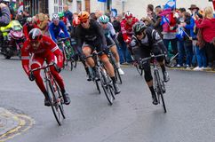Tour de Yorkshire 2016. Leading riders in Tour at Stokesley Royalty Free Stock Image