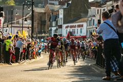 Tour de Yorkshire 2018. Peleton coming in for the last 2km in Scarborough for stage 3 of the Tour de Yorkshire 2018 Stock Images