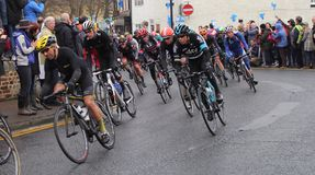 Tour de Yorkshire 2016. Peloton taking bend in Tour de Yorkshire at Stokesley Stock Images