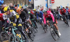 Tour de Yorkshire 2016. Riders on bend in Tour de Yorkshire at Stokesley Royalty Free Stock Image