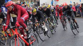 Tour de Yorkshire 2016. Riders in Tour de Yorkshire at Stokesley Stock Images