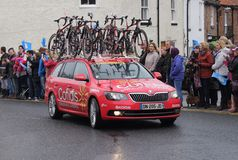 Tour de Yorkshire 2016. Support team in Tour de Yorkshire at Stokesley Royalty Free Stock Photos