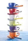 Tour des cuvettes de café Photographie stock