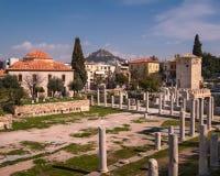 Tour des vents et du Roman Agora à Athènes, Grèce image stock