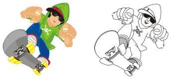 Tour différent de garçons sur des patins illustration de vecteur