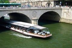 Tour Dinner Boat on Seine River Paris Royalty Free Stock Image