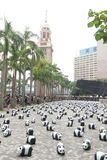 Tour du monde de 1600 pandas en Hong Kong Photos stock
