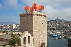 Tower with flags, Marseille, France Stock Photos