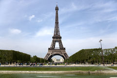 Tour eiffel. Paris, France with clear blue sky in tha background, green grass in front Royalty Free Stock Image