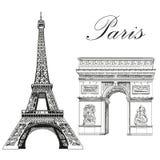 Tour Eiffel de vecteur et voûte triomphale illustration stock