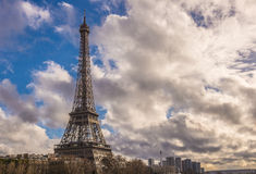 Tour Eiffel and dramatic cloudy sky Royalty Free Stock Image