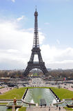 Eiffel Tower in full length, Paris. Typical view of Tour Eiffel with the Fountain of Warsaw, Paris, France Royalty Free Stock Images