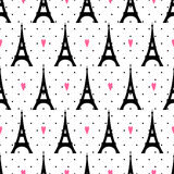 Tour Eiffel with hearts seamless pattern on polka dot background. Royalty Free Stock Photography