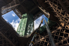 Tour eiffel. Nice view of tour eiffel with workers Stock Images