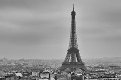 Tour Eiffel at night in black and white Royalty Free Stock Photo